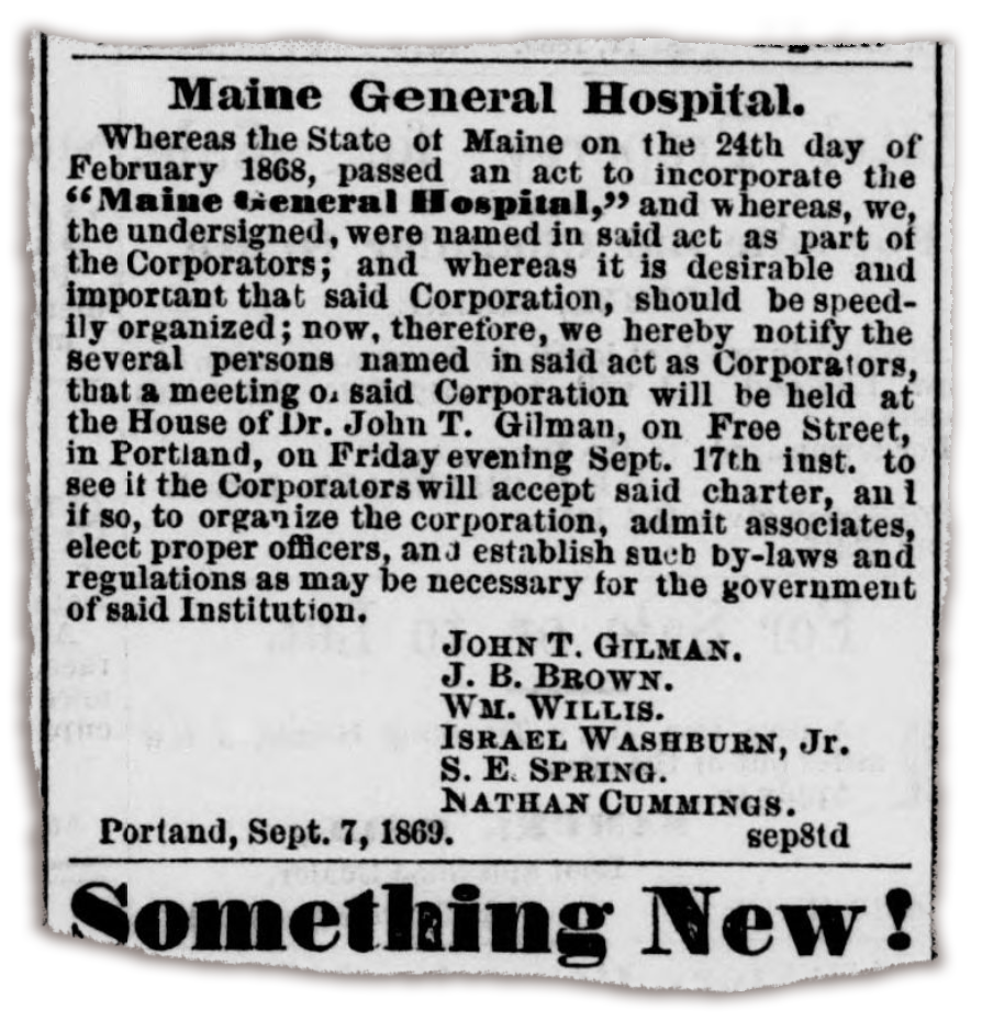 historical article about Maine General Hospital